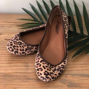 Lucky Brand Letah Leather Leopard Print Flats